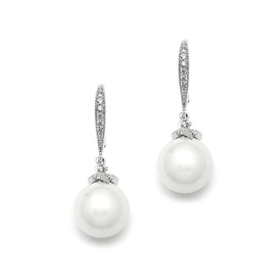 Mariell Silver Soft Cream Pearl Pave Wire 4195e Earrings
