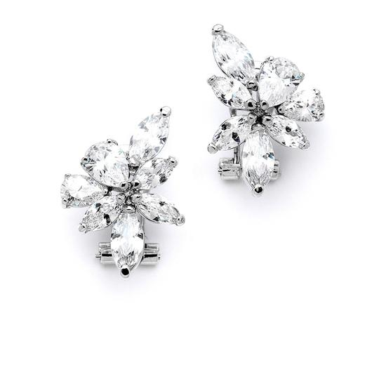 Mariell Silver Cz French Pierced Cluster 4196e Earrings