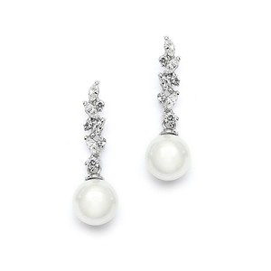 Mariell Silver Cascading Cz with Soft Cream Pearls 4198e Earrings