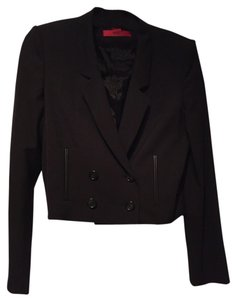 Hugo Boss Wool Leather Double-breasted Black Blazer