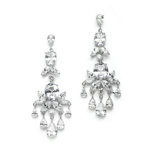 Mariell Breathtaking Cz Wedding Or Pageant Chandelier Earrings 4234e
