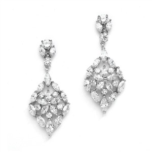 Mariell Silver Glamorous Cubic Zirconia with Marquis Mosaic 4235e Earrings