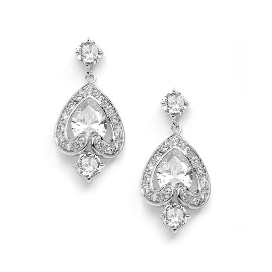 Mariell Cz Bridal Or Bridesmaids Abstract Teardrop Earrings 4236e