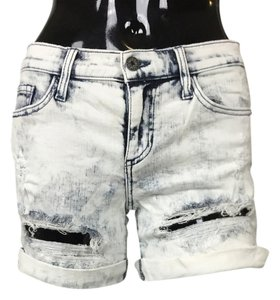 Denim Cuffed Destroyed Ripped Shorts