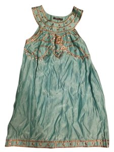 Theme short dress Turquoise Beading Sleeveless Gypsy Light Bronze Embroidered on Tradesy