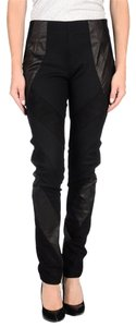 Fendi Leather Wool Ankle Zipper Side Zipper Patchwork Black Leggings