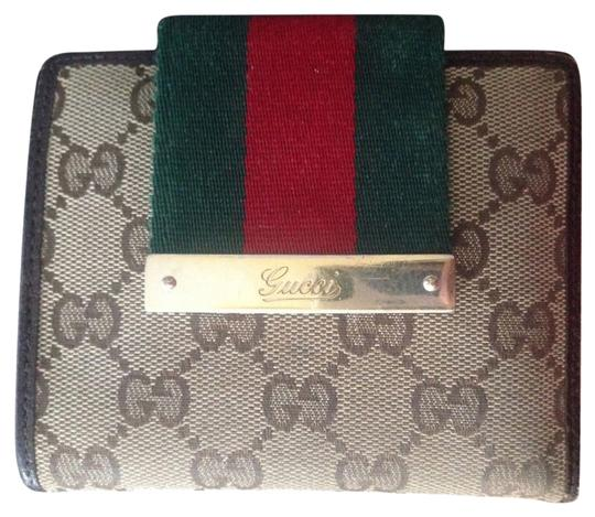 Gucci Canvas Brown Leather Wallet