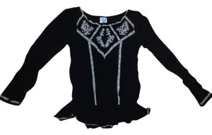Free People Romantic Boho Designer Top Black