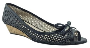 Prada Perforated Logo Black Wedges