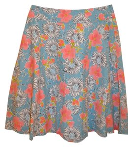Nine West Swing Knee Length Skirt Blue Floral