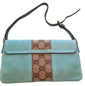 Gucci Suede Shoulder Turquoise Clutch