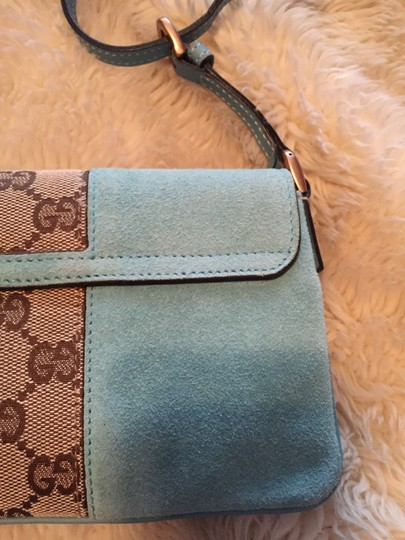 Gucci Suede Studded Leather Turquoise Clutch