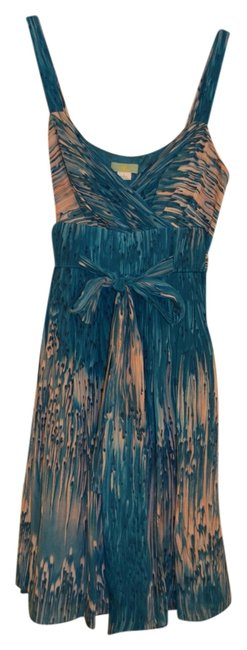 Anthropologie Abstract Silk Bow Tie Back Dress