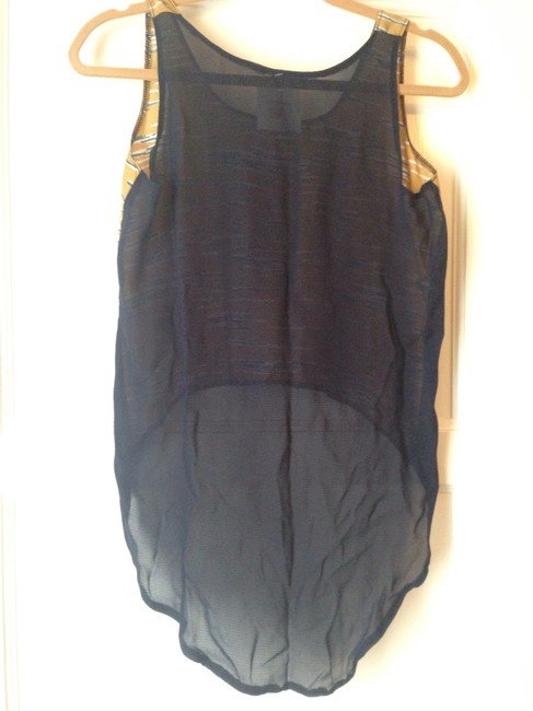 After Life Top Gold with dark blue chiffon