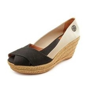 Tory Burch Colorblock Black/ Natural Wedges