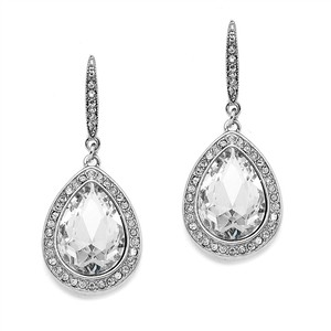 Mariell Silver Best Selling Prom Or Bridesmaids Pear Shaped with Crystal Accents 4247e Earrings