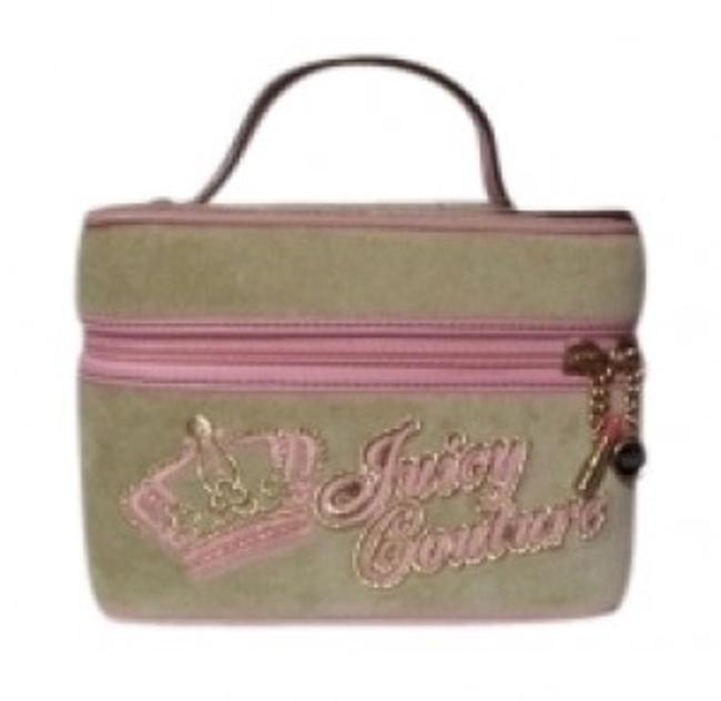 Item - Mini Train Case - Cosmetic Light Green and Pink Velour Leather Weekend/Travel Bag