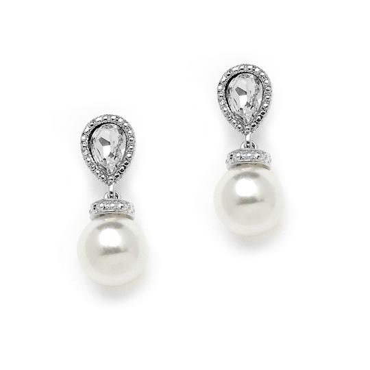Mariell Antique Pears Bridal Earrings With Bold White Pearl Drops 4248e