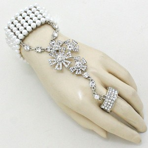 White and Silver Tone Clear Crystal Rhodium Pearl Floral Motif Hand Chain Rhinestone Accent Stretchable Bracelet