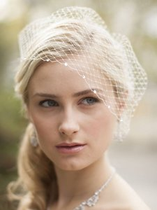 Ivory White French Net Veil with Swarovski Crystals Accents Hair Accessory