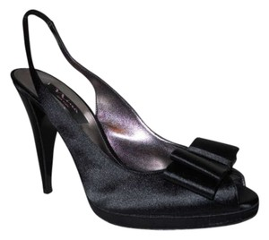 Nina Shoes Satin Slingback black Pumps