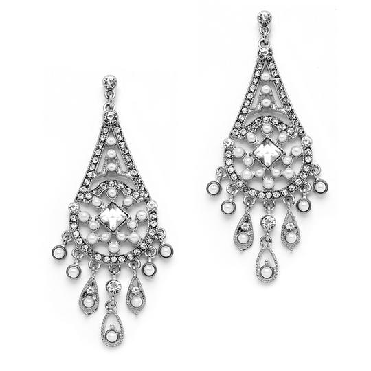 Mariell Silver Art Deco Chandelier with Inlaid Dainty Pearls 4251e Earrings