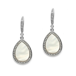 Mariell Pave Crystal Wedding Or Prom Earrings With Mother Of Pearl 4252e