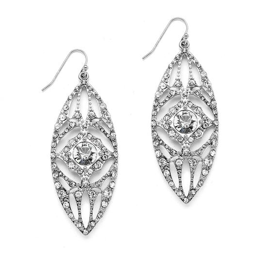 Mariell Silver Retro Glam Crystal Filigree 4256e Earrings