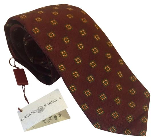 Luciano Barbera Tie Luciano Barbera red wine pinpoint gren/yellow silk