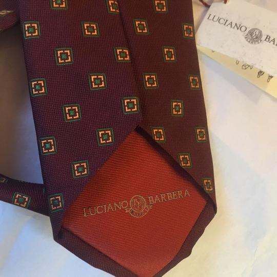 Luciano Barbera Tie Luciano Barbera red wine pinpoint gren/yellow silk Image 4