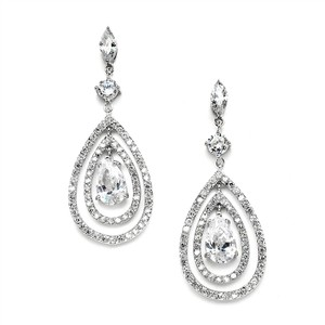 Mariell Spectacular Concentric Cz Teardrop Chandelier Earrings 4259e