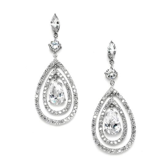 Mariell Silver Spectacular Concentric Cz Teardrop Chandelier 4259e Earrings