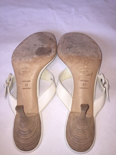 Prada Leather Buckle Silver Trim Size 41 Size 11 Thong Vero Cuoio White Sandals