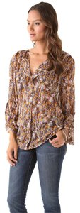 Karen Zambos Top Brown Multi-color Print