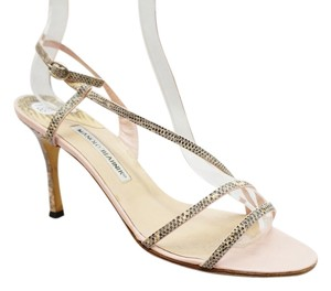 Manolo Blahnik Snake Print Leather Strappy Open Toe Heels 9 M Pink, Black, Multi-color Sandals