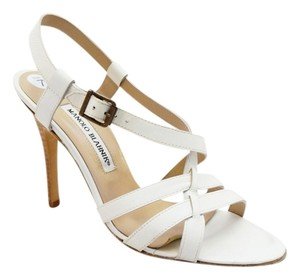 Manolo Blahnik Leather Strappy Heels 7.5 M White Sandals