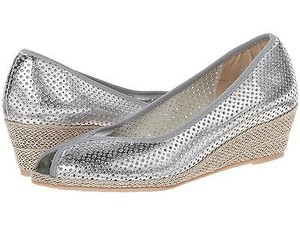 Sesto Meucci Peep Toe Nappa Leather Wedges Heels Size Silver Platforms