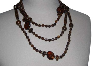 Unknown Long brown beaded necklace