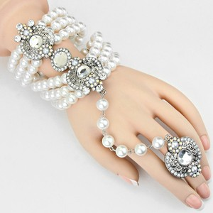 White Pearl Silver Tone Metal Rhodium Clear Crystal Accent Hand Chain Stretchable Bridal Bracelet Wedding Gift