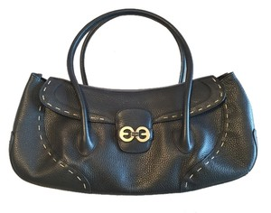 Escada Leather Stitched Buckle Shoulder Bag