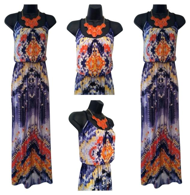 Preload https://item5.tradesy.com/images/bailey-blue-orange-and-yellow-casual-maxi-dress-size-8-m-3296749-0-0.jpg?width=400&height=650