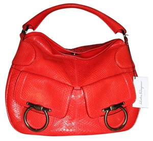 Salvatore Ferragamo Python Red Mary Snakeskin Hobo Bag