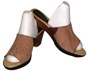 Sesto Meucci Super Comfortable Slide Sandal Size 10 Medium. Soft Leather Vamp Light brown Mules