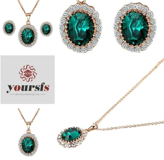 Preload https://img-static.tradesy.com/item/3297127/emerald-18k-rose-gfsyoursold-plated-green-gemstone-earring-and-ring-and-valentine-s-day-gift-necklac-0-0-540-540.jpg