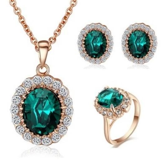 Yoursfs 18k Rose GfsYoursold Plated Green Gemstone Emerald Earring And Ring And Necklace Set Valentine's Day Gift