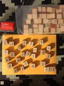 Michaels Wood Rubber Ink Stamps Letters Numbers Alphabet + Red Inkpad Reception Decoration