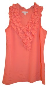 New York & Company Double Ruffle Ruffle V-neck Top Coral