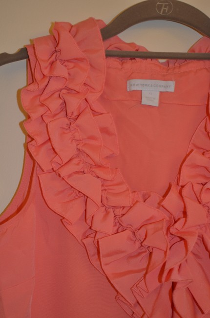 New York & Company Double Ruffle Ruffle V-neck Sleeveless Top Coral Image 1