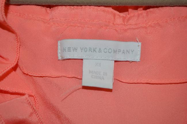 New York & Company Double Ruffle Ruffle V-neck Sleeveless Top Coral