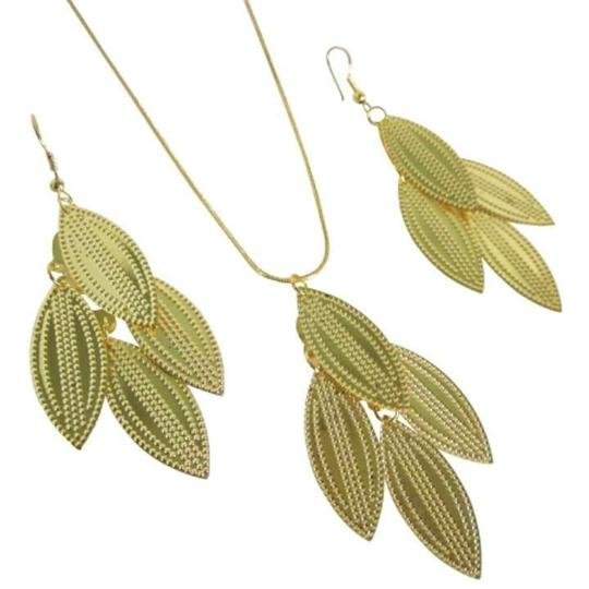 Antique Gold Golden Dangling Leaves Classic Inexpensive Pendant Earring Jewelry Set